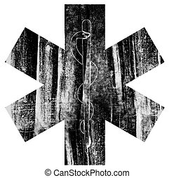 Grunge Emt Star of Life Symbol - Emt Symbol with Grunge...
