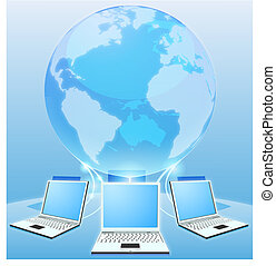 Computer network world concept - Laptop computers connected...