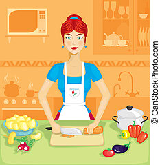 The woman in the kitchen - Beautiful woman in the kitchen...