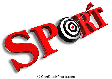 sport red word and conceptual target