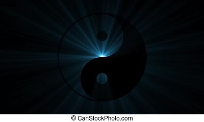 Yin yang sign with powerful light from the back