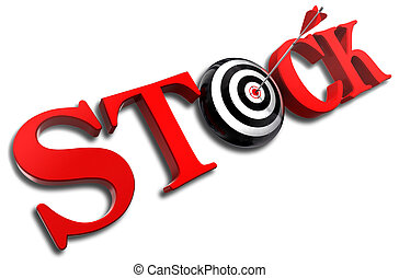 stock red word and conceptual target