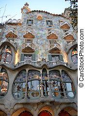 Casa Batllo in Barcelona, Spain - The facade of the house...