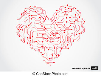 Electronic circut board heart shape - Electronic circut...