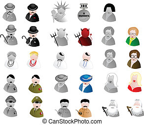 Vector avatars - Vector color and greyscale avatars:...