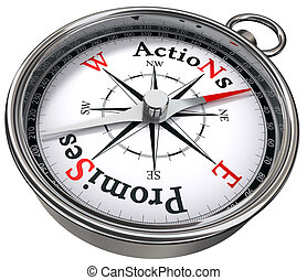 action vs promises concept compass with black red letters...