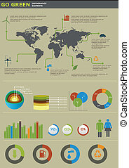 Ecology info graphics collection, charts, symbols, graphic...