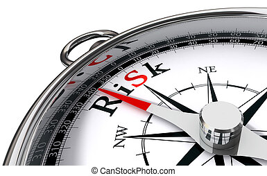 risk towards south indicated by compass conceptual image