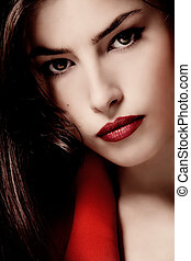 beautiful face - sensual woman closeup portrait with red...
