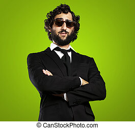 business man - portrait of young business man against a...