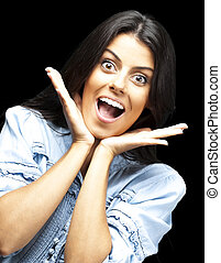 surprised woman - portrait of surprised young woman against...