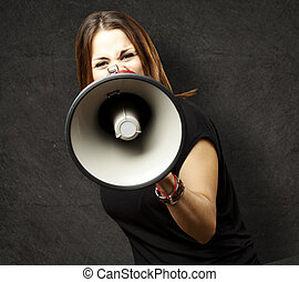 young woman - portrait of young woman shouting with...