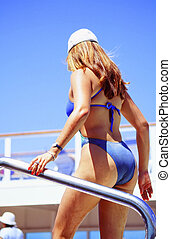 Cruise vacation. - Female beauty on a cruise ship vacation.