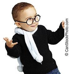 retrato, adorable, niño, El gesticular, duda, contra,...