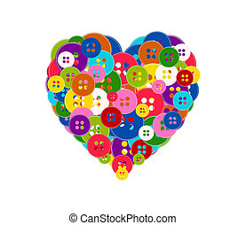 Vector illustration of a heart made with the buttons isolated on white background. Valentine Day theme.