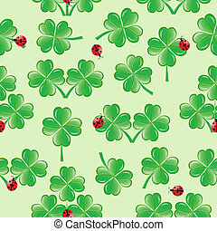 vector illustration of seamless pattern with four leaves clover and ladybugs