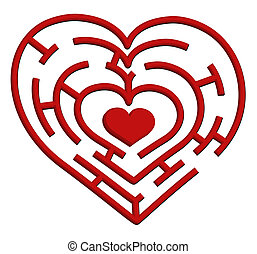 Vector illustration of a heart maze. Valentines Day theme