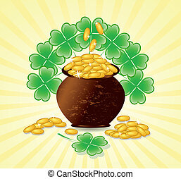 Vector illustration of a  St. Patrick day theme with pot of gold coins, shamrocks on sunny background