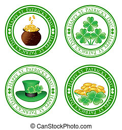 vector illustration of a set of green stamps with four leaf...