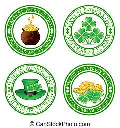 vector, illustration, set, green, stamps, four, leaf,...