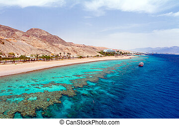 Red sea - Panorama coastline of Red sea from coral reef
