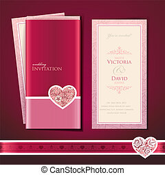 Wedding invitation card, vector template