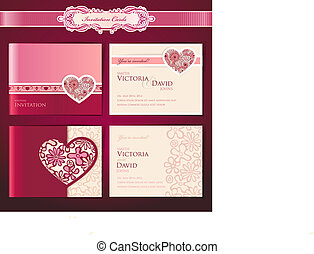 Set of wedding invitation cards, vector templates