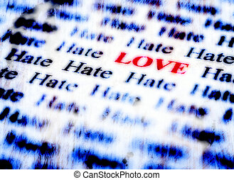 Love and Hate - Closeup detail of black and white words with...