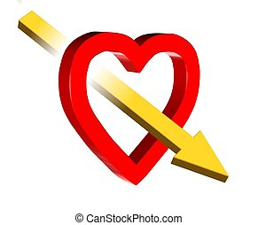 Love symbol - 3D valentine illustration of red heart and...