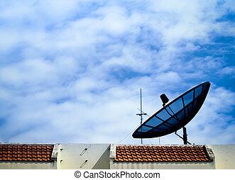 sattelite and blue sky background - sattelite over blue sky...