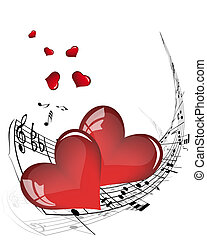 valentine frame - Vector musical notes staff background for...
