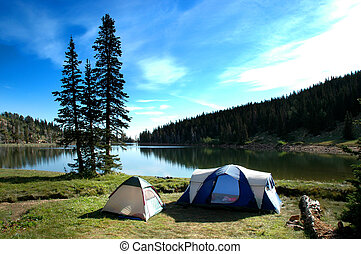 Camping Tents Near Lake - Camping tents near lake and trees...