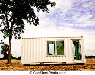 white container office under the tree