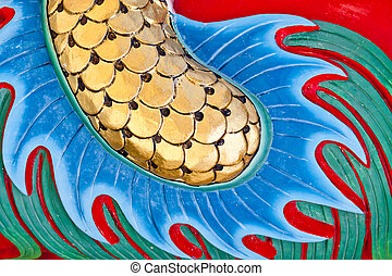 chinese dragon tail - detail of chinese dragon tail from a...