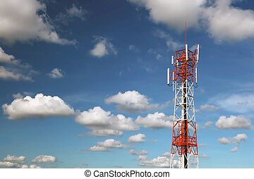 Communication Microwave Tower against beautiful blue sky and...