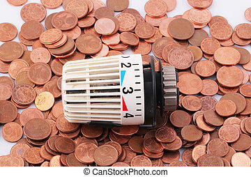 thermostat - A thermostat on one-cent euro coins