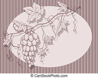 Vector grapes with leaves.