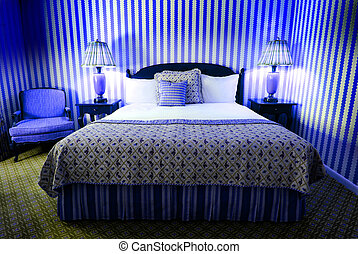 Wild Blue Bedroom - Wild blue bedroom with headboard, lamps...