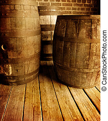 Old Wine Barrells - Several old antique wooden wine barrels...