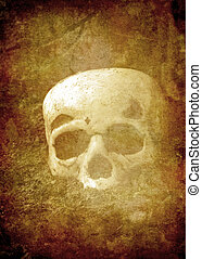 Old Paper with Human Skull - Antique paper with human skull...