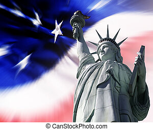 Liberty for All American Flag and Statue of Liberty -...