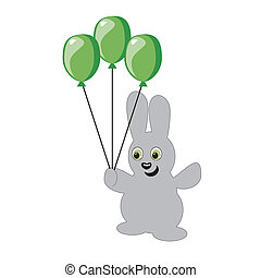 nice hare with balloons