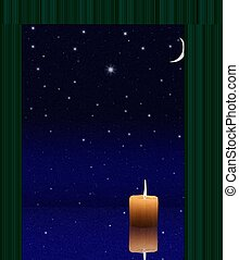 Candlelight in window on abstract night stars and moon sky...