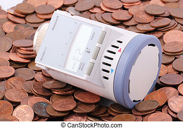 thermostat - A programmable thermostat on one-cent coins