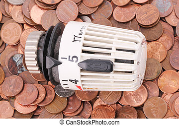 thermostat - A thermostat on one-cent coins