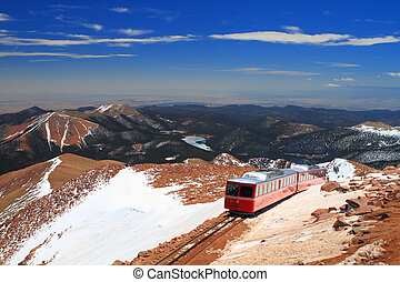 Pikes Peak Train - View of Pikes Peak and Manitou Springs...