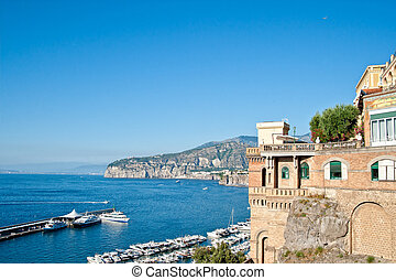 mansion on the amalfi coast - Harbor and old mansion on the...