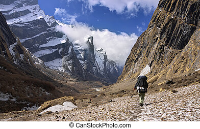 nepali guide at the modi khola valley nepal - nepali guide...