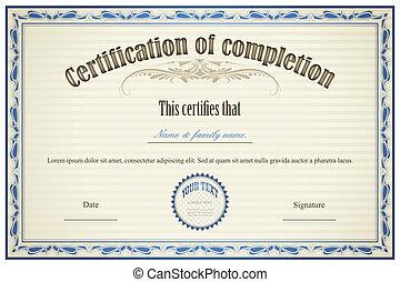 certificat, achèvement