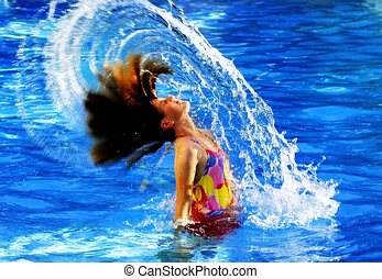 Summer Swimming Fun - Young girl in swimming pool flipping...